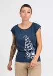 Hafendieb Girls-Shirt Schiff Denim Blau